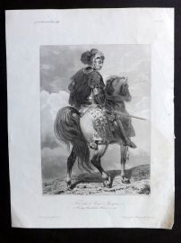 Gavard 1838 Antique Print. Trivulce Jean-Jacques on Horseback